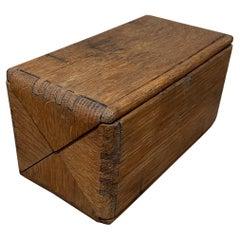 Vintage Tiger Oak Antique Folding Wood Puzzle Box Red Felt Lining by Singer