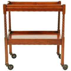 Vintage Tiger Oak Tea Trolley, Bar Cart, Scotland 1930, B2452