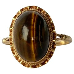 Vintage Tigers Eye and 9 Carat Gold Ring