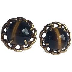 Vintage Tigers Eye and 9 Carat Gold Stud Earrings