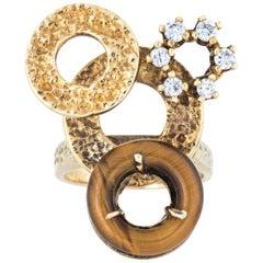 Vintage Tigers Eye Diamond Ring 14 Karat Gold Estate Circles Cocktail Jewelry