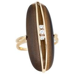 Vintage Tigers Eye Diamond Ring 14 Karat Gold Estate Oval Dome Cocktail Jewelry