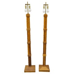 Vintage Tiki Rattan Hollywood Regency Wood Faux Bamboo Floor Lamps, a Pair
