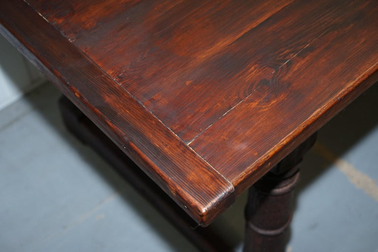 Vintage Timber Planked Top English Farmhouse Refectory Dining Table Seats 8-10 For Sale 3