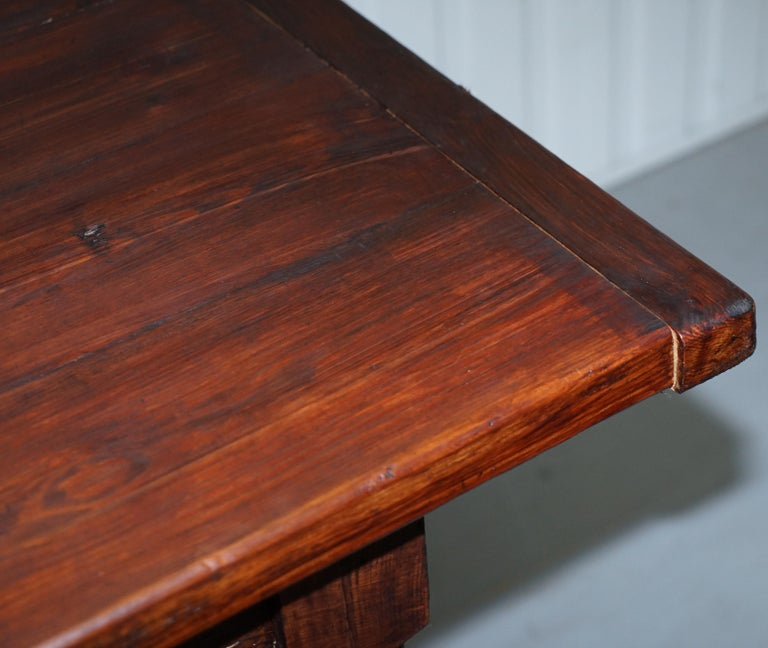 Vintage Timber Planked Top English Farmhouse Refectory Dining Table Seats 8-10 For Sale 4