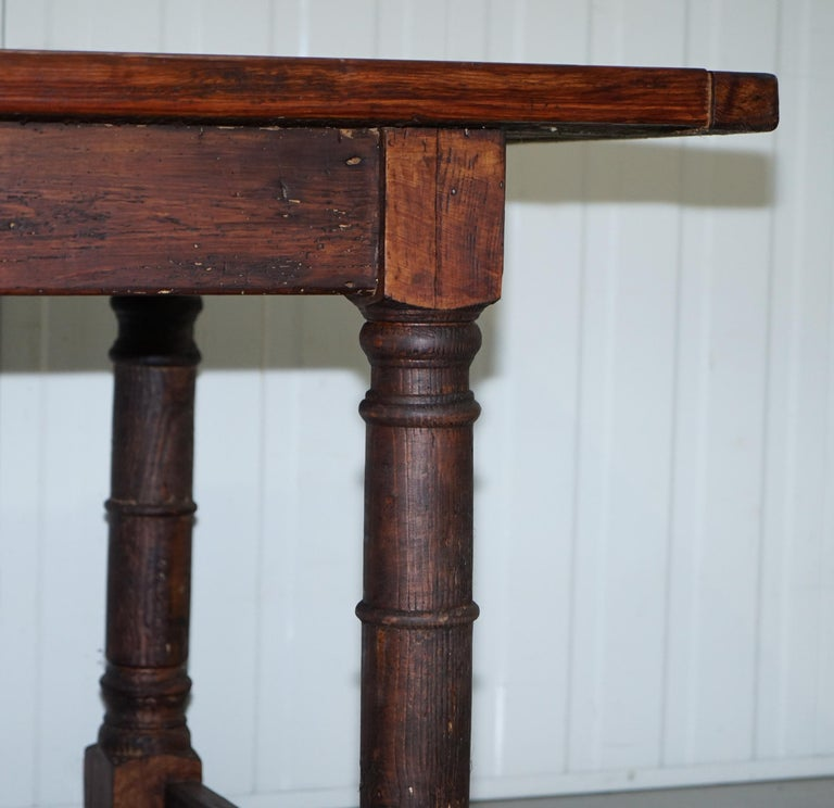 Vintage Timber Planked Top English Farmhouse Refectory Dining Table Seats 8-10 For Sale 5