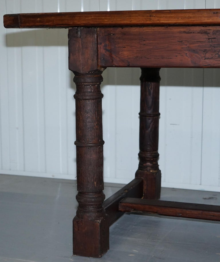 Vintage Timber Planked Top English Farmhouse Refectory Dining Table Seats 8-10 For Sale 6