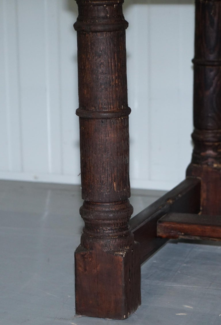 Vintage Timber Planked Top English Farmhouse Refectory Dining Table Seats 8-10 For Sale 7
