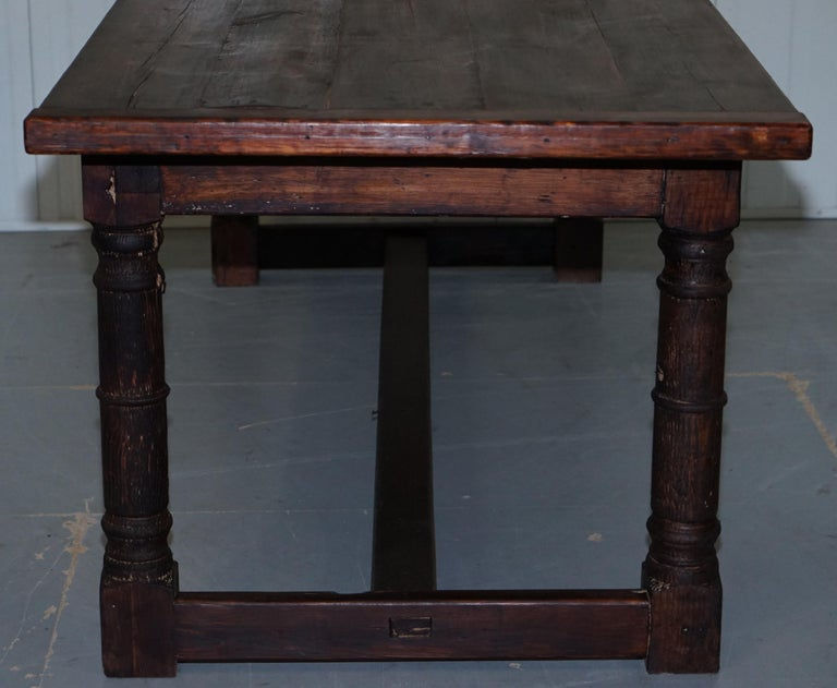 Vintage Timber Planked Top English Farmhouse Refectory Dining Table Seats 8-10 For Sale 8