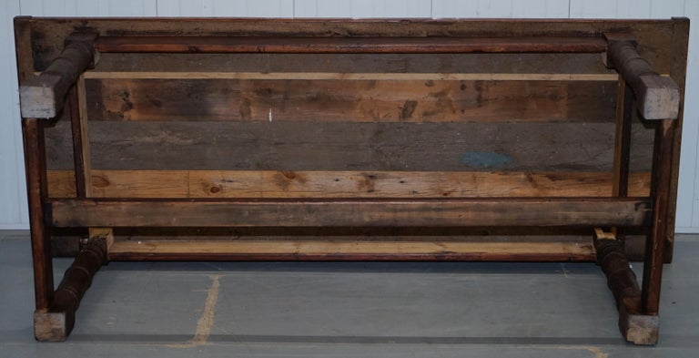 Vintage Timber Planked Top English Farmhouse Refectory Dining Table Seats 8-10 For Sale 10
