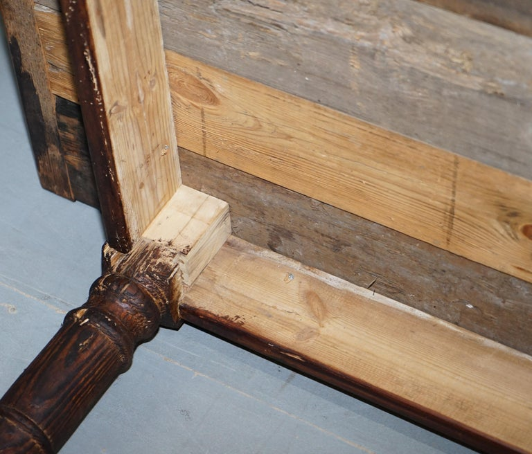 Vintage Timber Planked Top English Farmhouse Refectory Dining Table Seats 8-10 For Sale 11