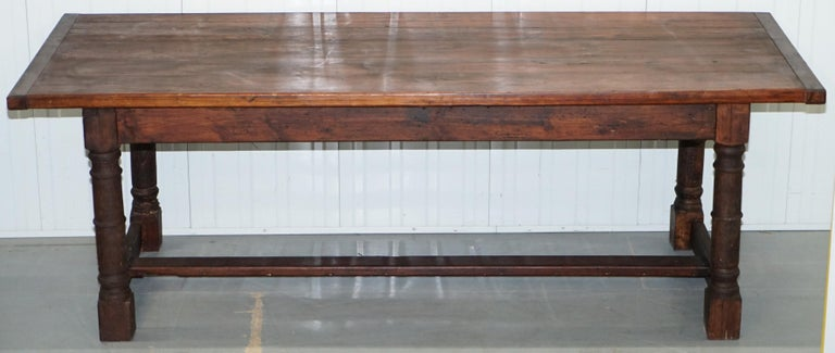 Victorian Vintage Timber Planked Top English Farmhouse Refectory Dining Table Seats 8-10 For Sale