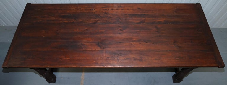 Hand-Crafted Vintage Timber Planked Top English Farmhouse Refectory Dining Table Seats 8-10 For Sale
