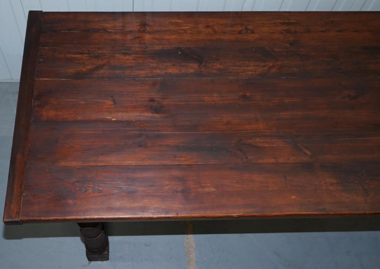 Vintage Timber Planked Top English Farmhouse Refectory Dining Table Seats 8-10 In Good Condition For Sale In London, GB