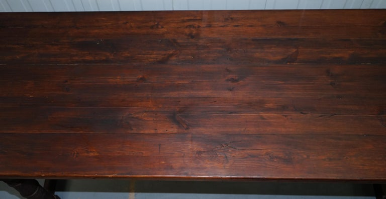 20th Century Vintage Timber Planked Top English Farmhouse Refectory Dining Table Seats 8-10 For Sale