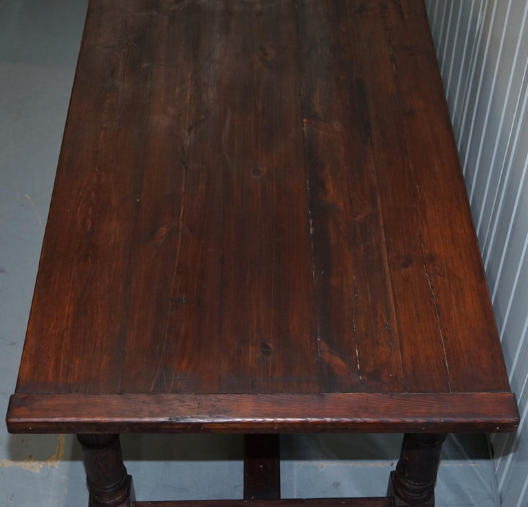 Oak Vintage Timber Planked Top English Farmhouse Refectory Dining Table Seats 8-10 For Sale