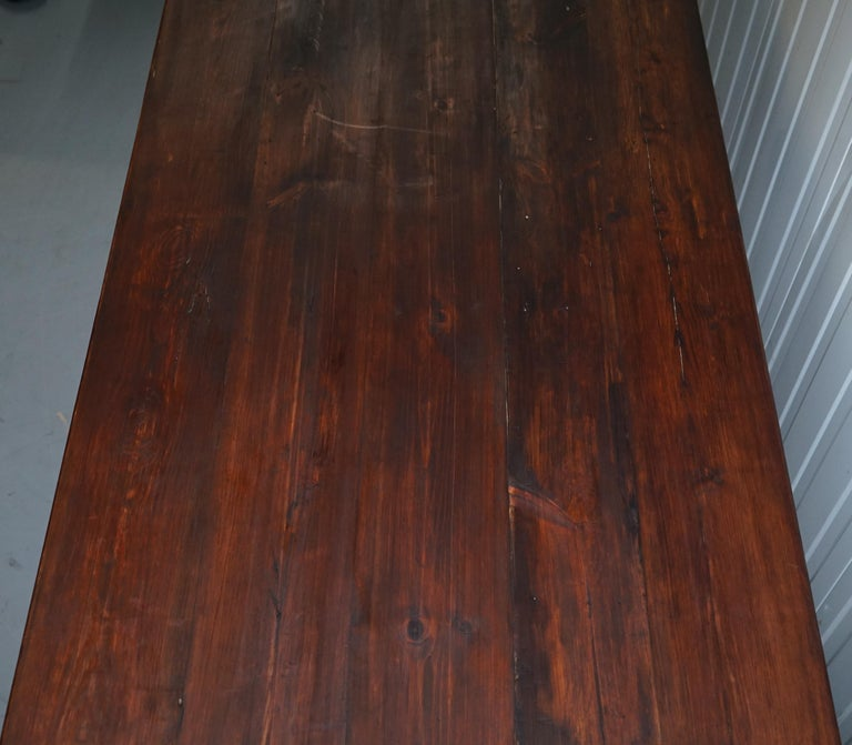 Vintage Timber Planked Top English Farmhouse Refectory Dining Table Seats 8-10 For Sale 1