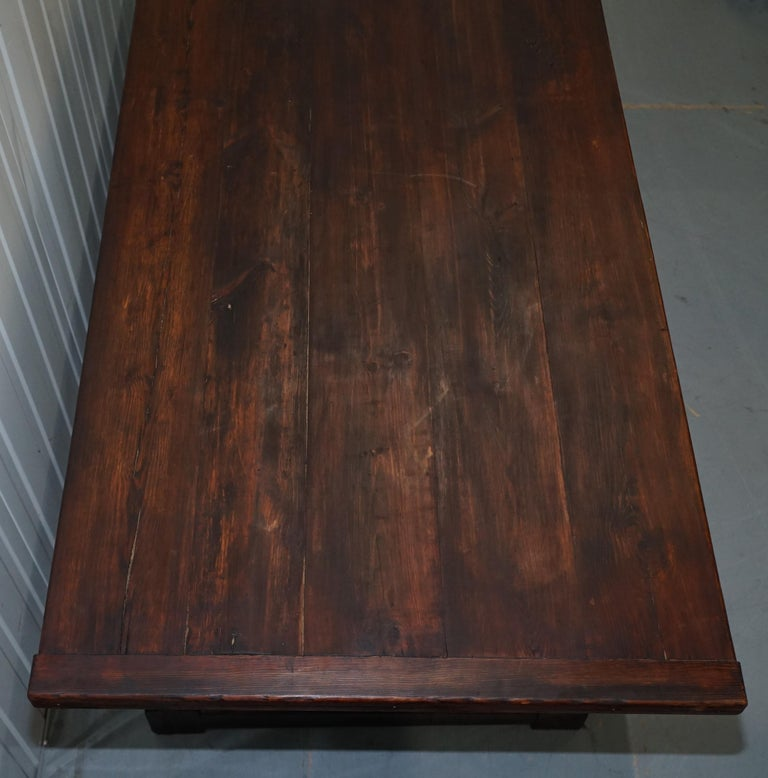 Vintage Timber Planked Top English Farmhouse Refectory Dining Table Seats 8-10 For Sale 2