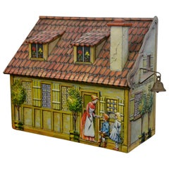Vintage Tin House Storage Box, Heinrich Haeberlein-Nurnberg, Germany, 1980s