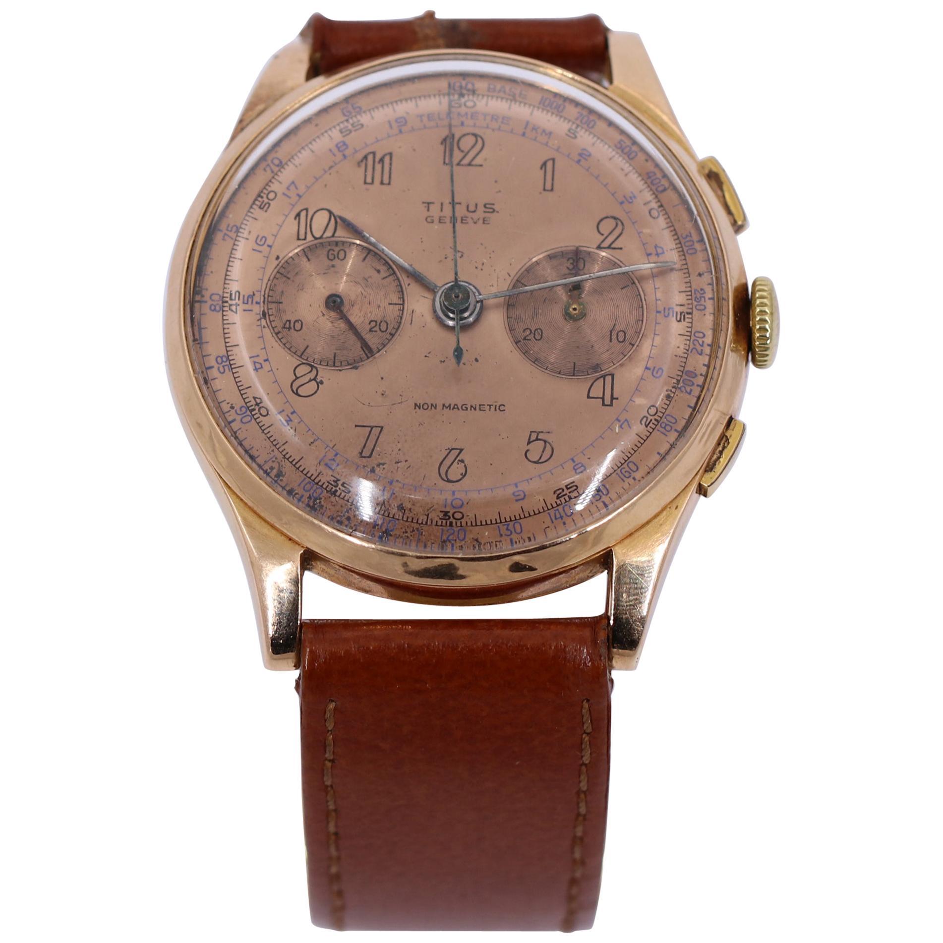 Vintage Titus Rose Gold Chronograph Watch