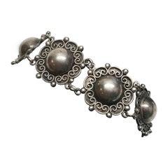 Vintage Tobias A. Mexico Sterling Silver Flower Link Bracelet