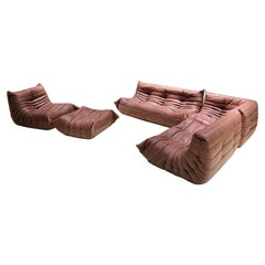 Vintage Togo Living Room Set in Cognac Leather by Michel Ducaroy for Ligne Roset