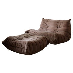 Vintage Togo Velvet Sofa Set by Michel Ducaroy for Ligne Roset France