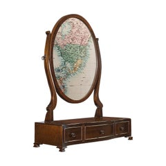 Vintage Toilet Mirror, English, Mahogany, Pedestal, Late 20th Georgian Revival