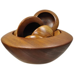 Vintage Tokaido Japan Danish Modern Teak Wood Salad Bowl Set with 8 Small Bowls