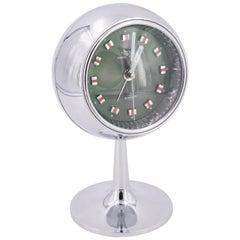 Vintage Tokyo Tokei Atomic Midcentury Chrome Clock