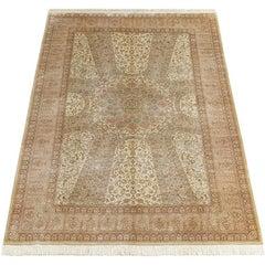 Vintage Tolid Afshari Silk Qum Gombad Persian Rug