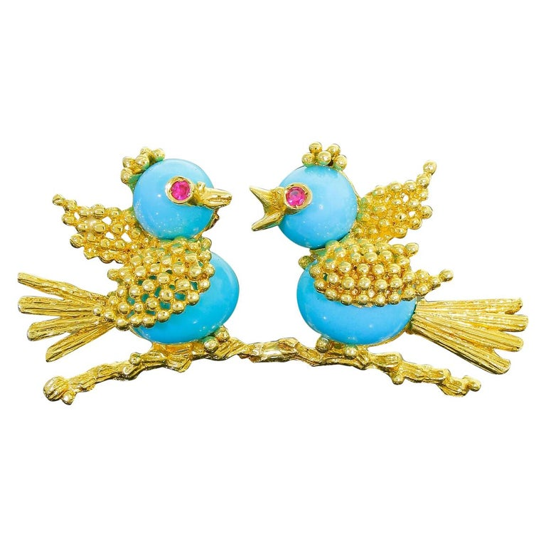 Vintage Toliro 18 Karat Gold Ruby and Turquoise Love Birds Pin Brooch For Sale