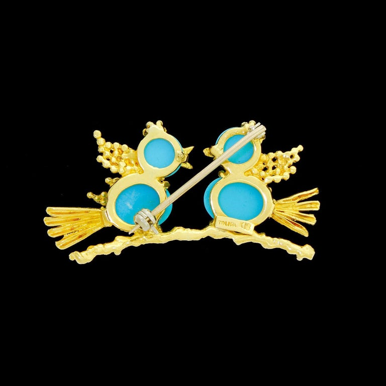 Modern Vintage Toliro 18 Karat Gold Ruby and Turquoise Love Birds Pin Brooch For Sale
