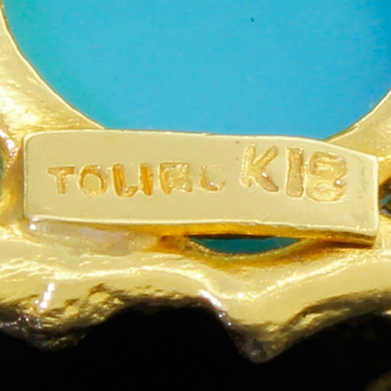 Women's Vintage Toliro 18 Karat Gold Ruby and Turquoise Love Birds Pin Brooch For Sale