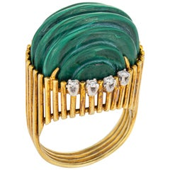 Vintage Toliro 1970s Malachite Diamond Cocktail Ring 18 Karat Yellow Gold Fluted