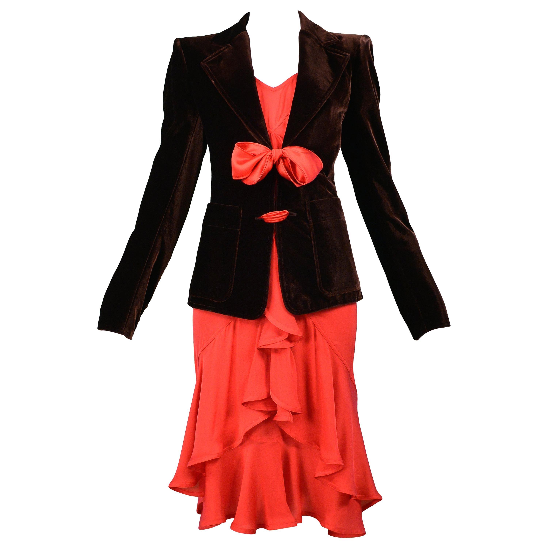 Vintage Tom Ford For YSL Brown Velvet Blazer & Red Ruffle Dress Ensemble 2003