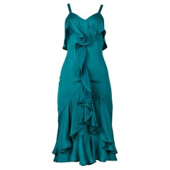 Vintage Tom Ford for Yves Saint Laurent Teal Green Silk Ruffle Dress 2003