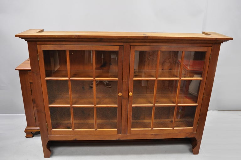 Vintage Tom Seely Pine Wood Step Back Hutch Cupboard China Cabinet 3