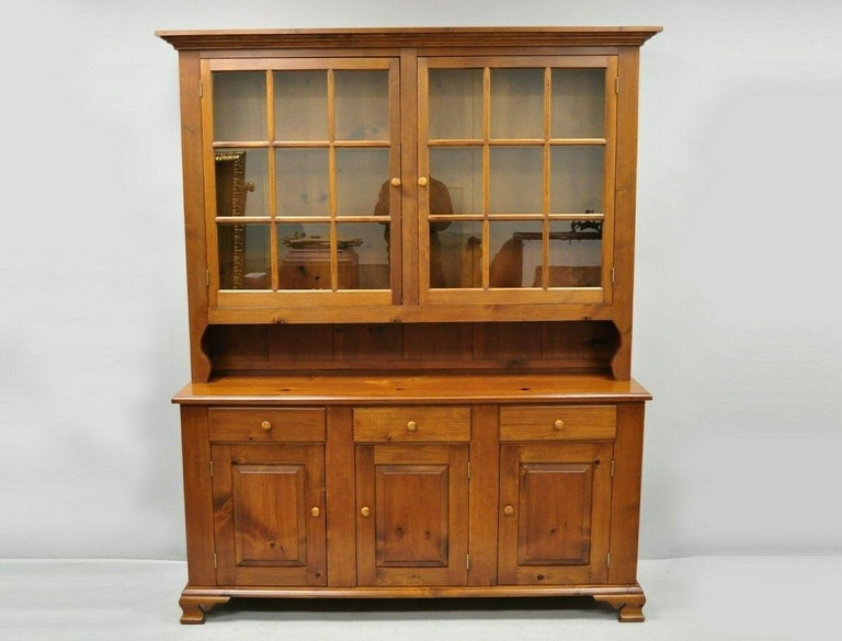 Vintage Tom Seely Pine Wood Step Back Hutch Cupboard China Cabinet 4