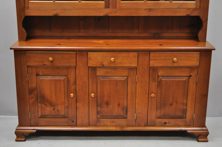 American Vintage Tom Seely Pine Wood Step Back Hutch Cupboard China Cabinet