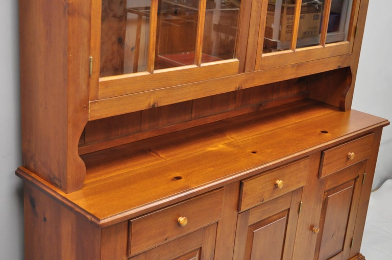 20th Century Vintage Tom Seely Pine Wood Step Back Hutch Cupboard China Cabinet