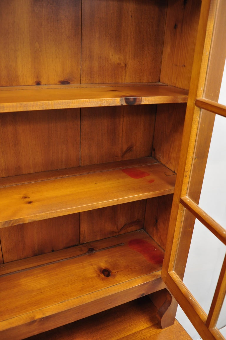 Vintage Tom Seely Pine Wood Step Back Hutch Cupboard China Cabinet 1