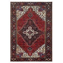 Vintage Tomato Red Persian Heriz Distressed Hand Knotted Clean Natural Wool Rug