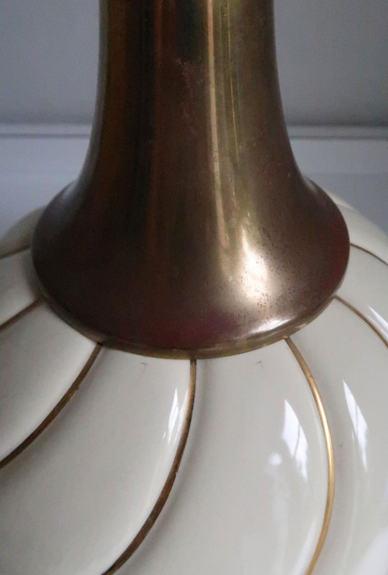 Vintage Tommaso Barbi Style Ceramic Cream, Gold, Brass Table Lamp, 1970s For Sale 1