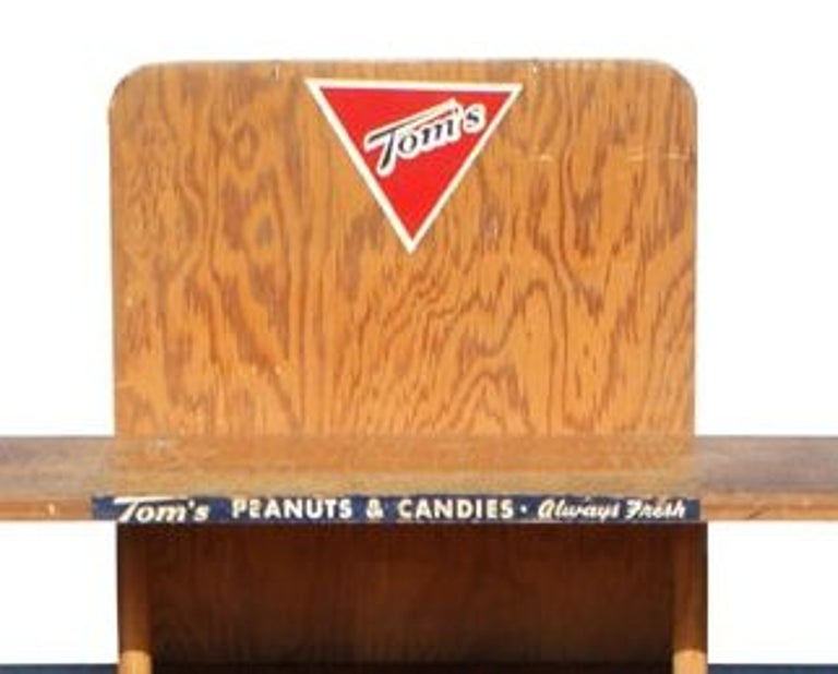 Mid-20th Century Vintage Tom's Peanuts Wooden Display Stand For Sale