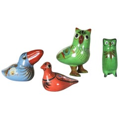 Tonala Pottery Birds Owls Toucan Dove Hand Painted Made in Mexico Set of 4