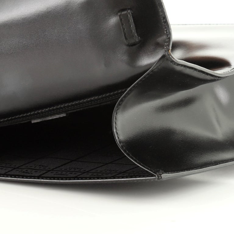 Vintage Top Handle Flap Bag Leather Medium For Sale 7