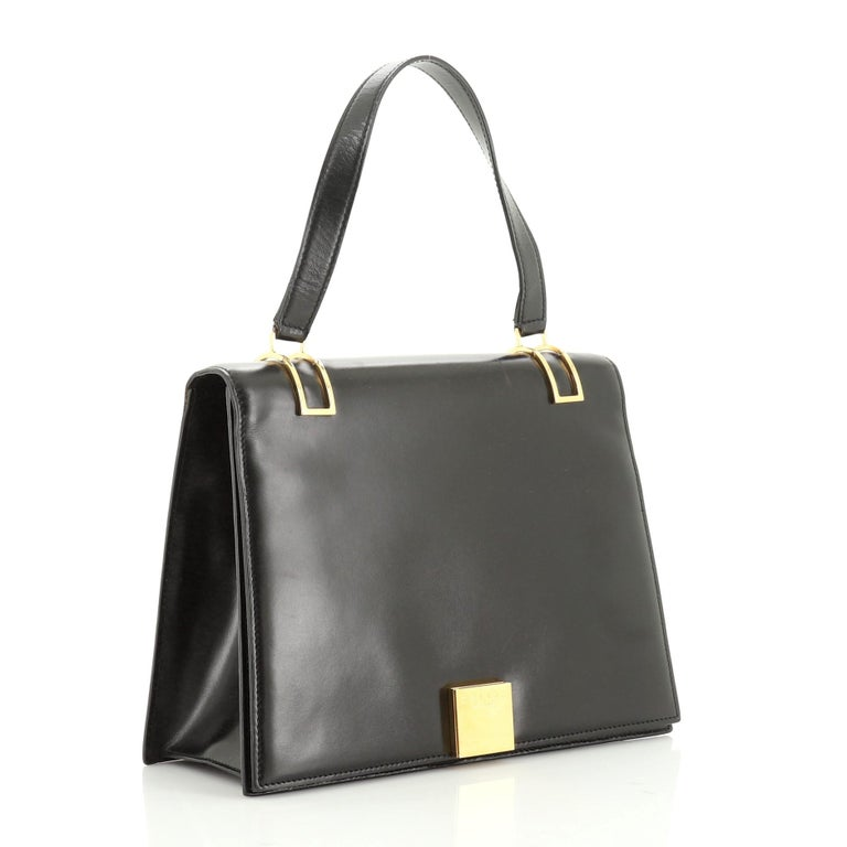 Vintage Top Handle Flap Bag Leather Medium In Fair Condition For Sale In New York, NY