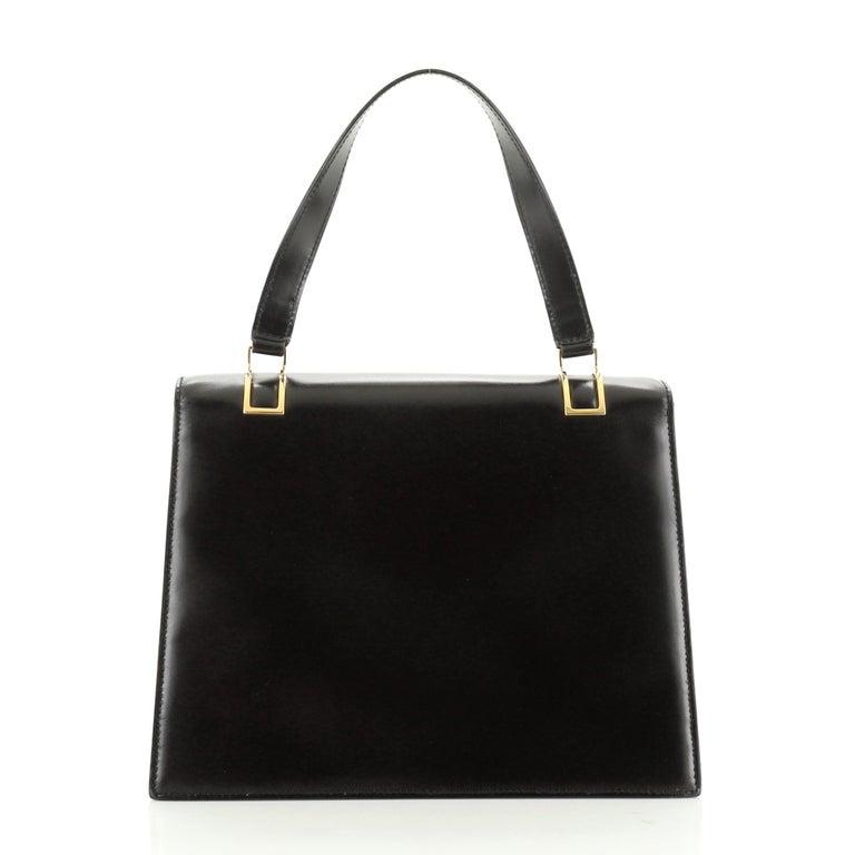Women's or Men's Vintage Top Handle Flap Bag Leather Medium For Sale