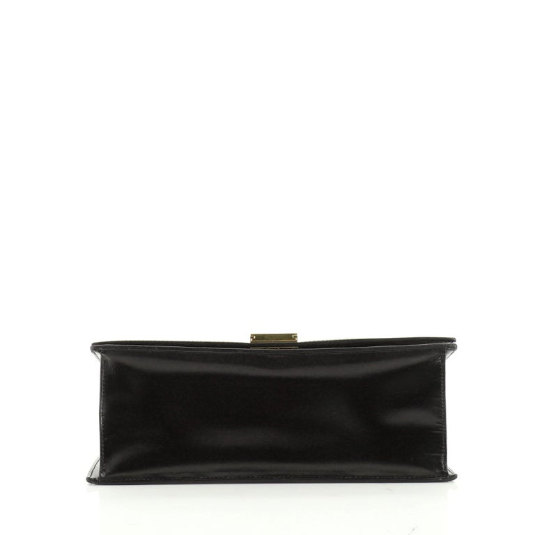 Vintage Top Handle Flap Bag Leather Medium For Sale 1